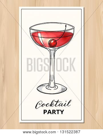 Cocktail party design template. Hand drawn cocktail with cherry. Eps10 vector illustration.