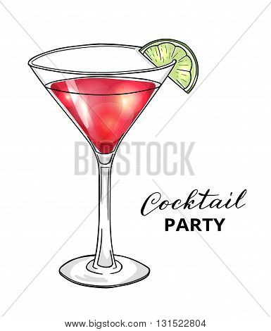 Cocktail party design template. Hand drawn cocktail in martini glass with lime. Eps10 vector illustration.