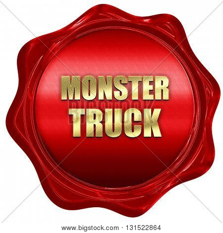 monster truck sign background, 3D rendering, a red wax seal