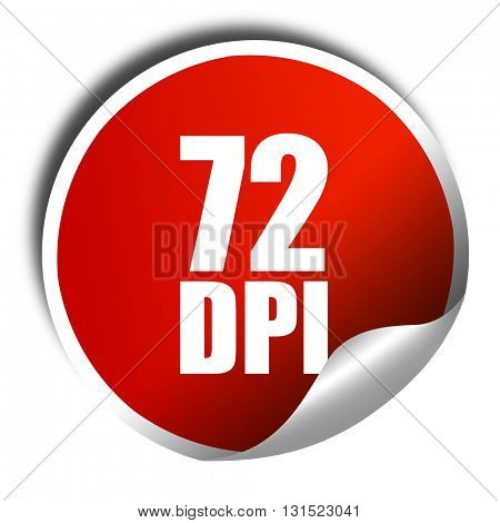 72 dpi, 3D rendering, a red shiny sticker