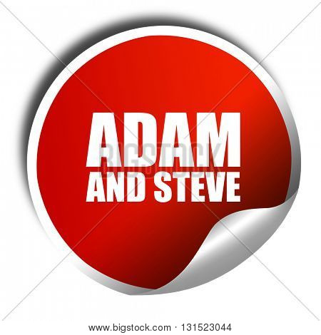 adam and steve, 3D rendering, a red shiny sticker