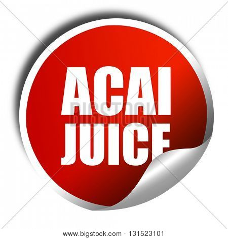 acai juice, 3D rendering, a red shiny sticker