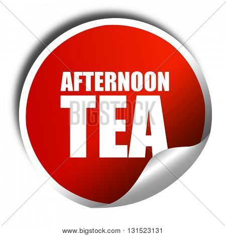 afternoon tea, 3D rendering, a red shiny sticker