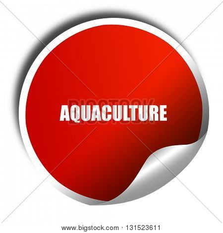 aquaculture, 3D rendering, a red shiny sticker