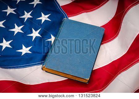 Vintage book on American flag