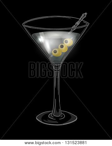 Hand drawn cocktail in martini glass with olives on a dark background. Eps10 vector illustration.