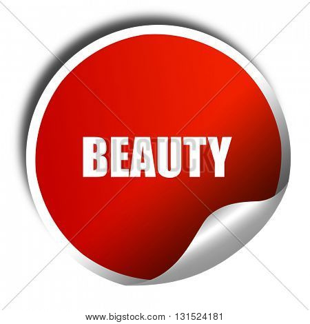 beauty, 3D rendering, a red shiny sticker