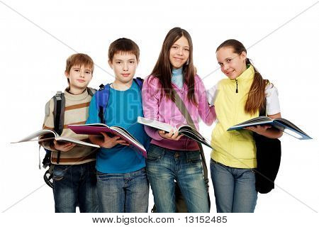 Educational theme: group of emotional teenagers standing together.
