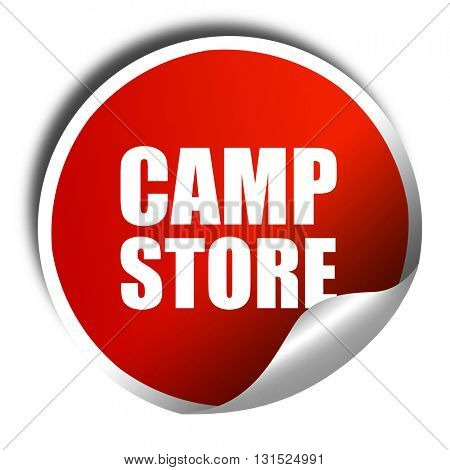 camp store, 3D rendering, a red shiny sticker