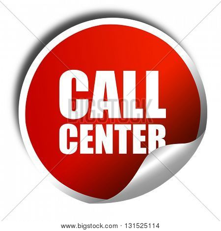 call center, 3D rendering, a red shiny sticker