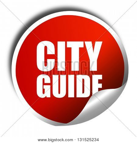 city guide, 3D rendering, a red shiny sticker