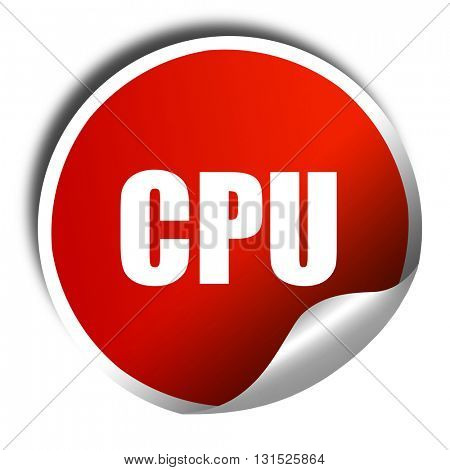 cpu, 3D rendering, a red shiny sticker