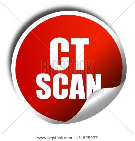 ct scan, 3D rendering, a red shiny sticker