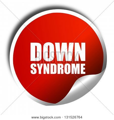 down syndrome, 3D rendering, a red shiny sticker