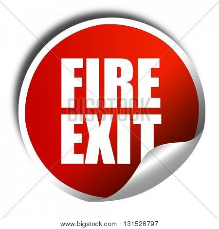 fire exit, 3D rendering, a red shiny sticker