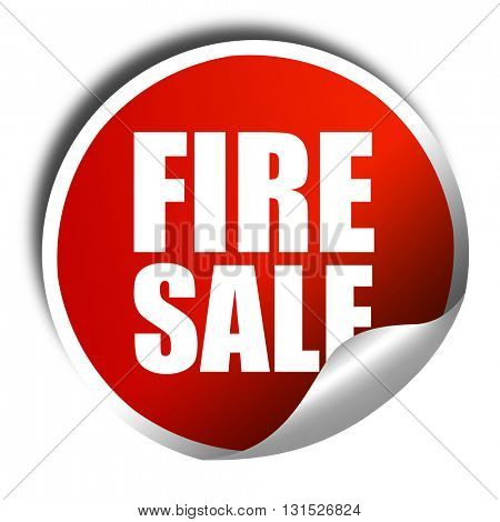 fire sale, 3D rendering, a red shiny sticker