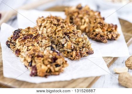Homemade Granola Bars With Peanuts And Cranberries (selective Focus)