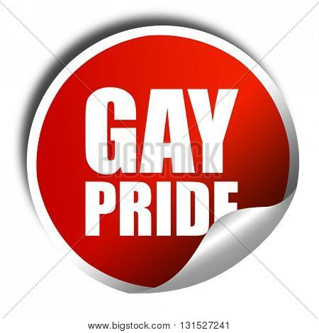 gay pride, 3D rendering, a red shiny sticker