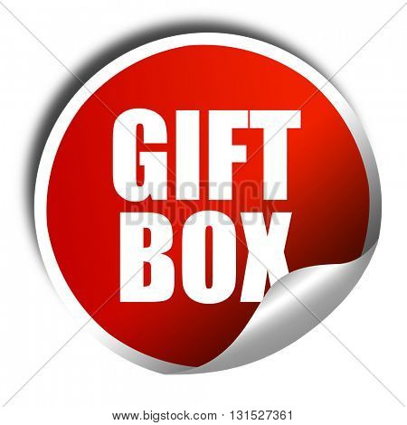 gift box, 3D rendering, a red shiny sticker