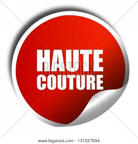 couture, 3D rendering, a red shiny sticker