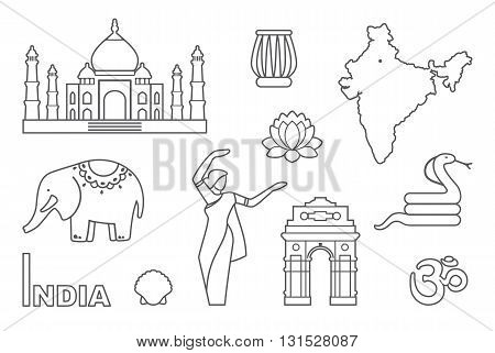 Traditional symbols of India. Simple contour icons