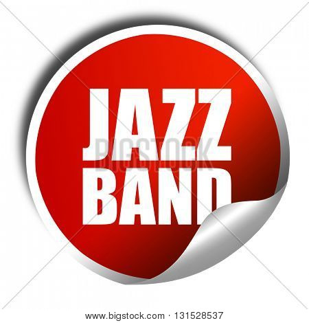 jazz band, 3D rendering, a red shiny sticker