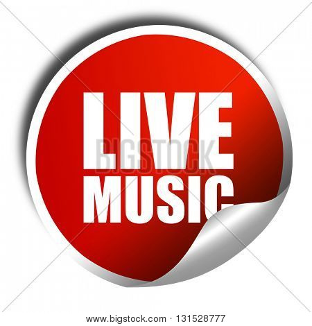 live music, 3D rendering, a red shiny sticker