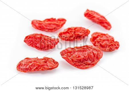 Close up goji berries isolated on white background.
