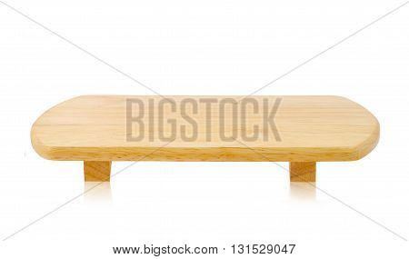 Small wooden Bench isolated on white background Saved clipping path.