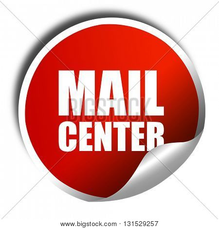 mail center, 3D rendering, a red shiny sticker