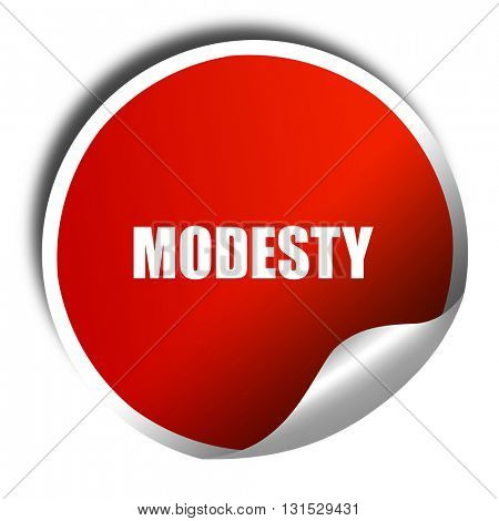 modesty, 3D rendering, a red shiny sticker