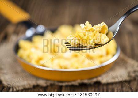 Scrambled Eggs On A Fork (close-up Shot)
