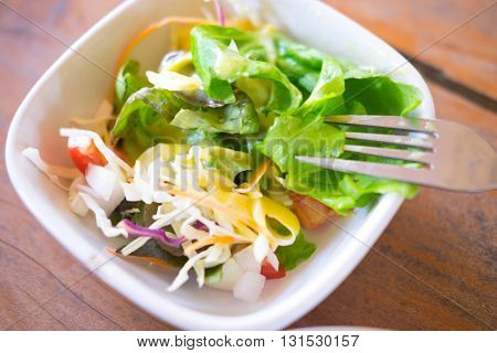 green salad with vegetables in bowl healthy food