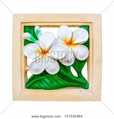 Plumeria flower carved stone isolated on white background.