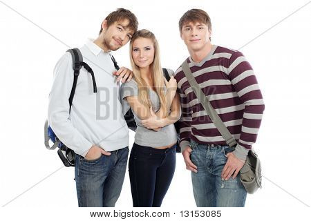 Educational theme: group of happy students isolated over white background.