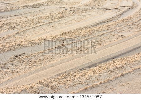 Tire From Tracks On The Sand