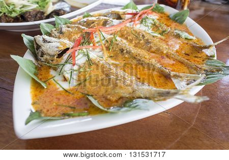 Mackerel With Curry Made From Coconut Milk, Chili.