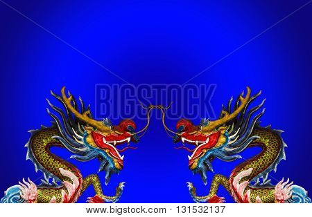 dragon statue on china temple in thailand