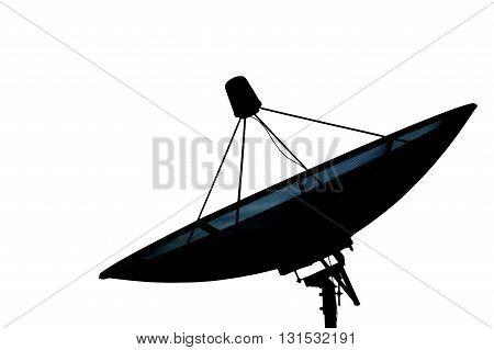 Satellite dish transmission data isolated on white