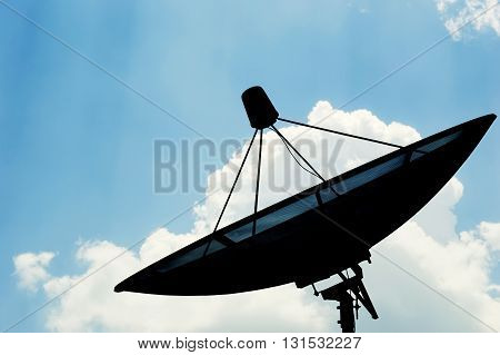 Satellite dish transmission data, Satellite dish on sky background