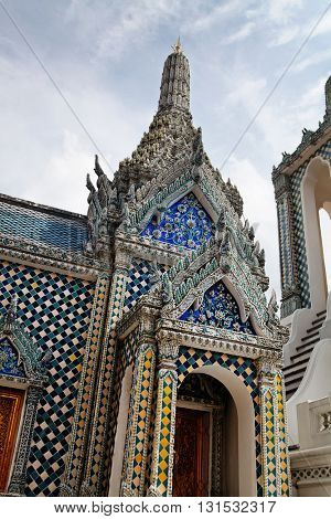closeup the beautiful Buddhist temple gable, Thailand
