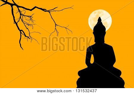 Silhouette Image of buddha in color of the moonlight isolated background