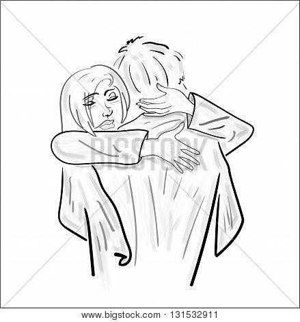 Love couple. Vector illustration of girl hugging guy