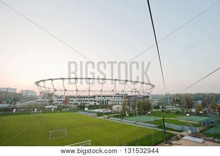 Aerial View From Cable Car Of Football Stadium At Upper Silesia, Katowice And Chorzow Attractions, P