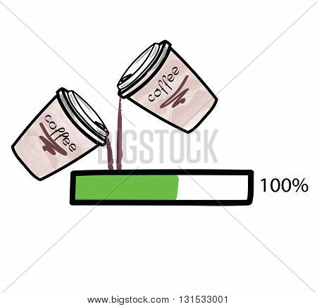 Coffee charging to 100%. vector on white background