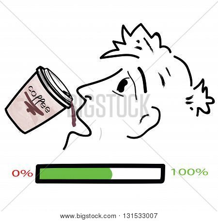 man drinking coffee picture on white background. vector