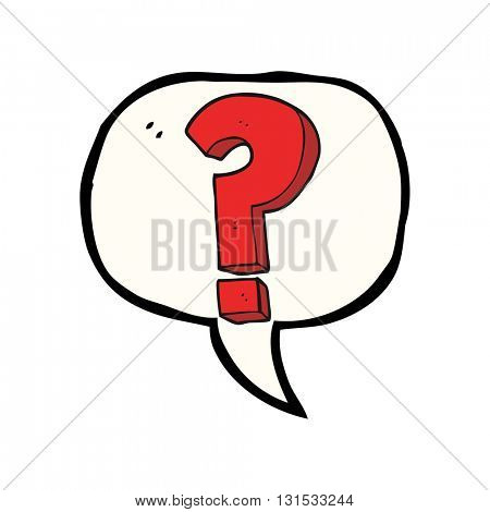 freehand drawn speech bubble cartoon question mark symbol