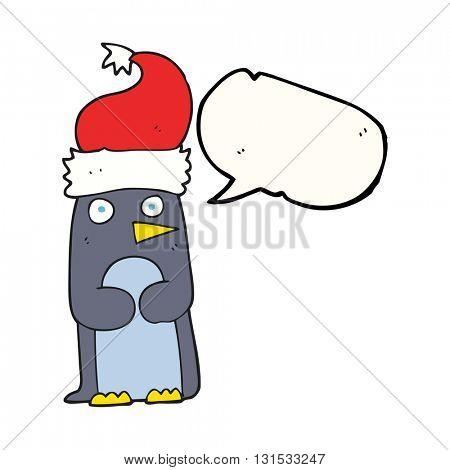 freehand drawn speech bubble cartoon penguin in christmas hat