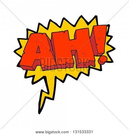 freehand drawn speech bubble cartoon AH! shout