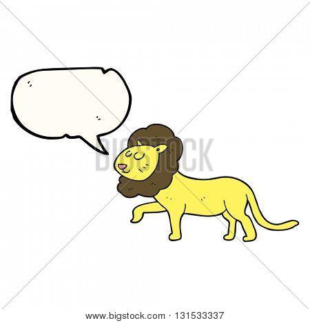 freehand drawn speech bubble cartoon lion